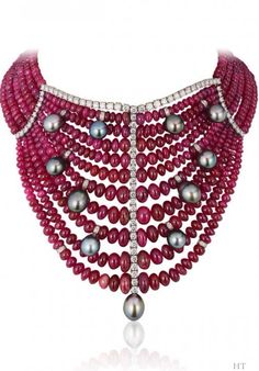 Necklace with 850.74 ct of rubies, 7.80 ct of diamonds and pearls by Andreoli, HT