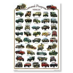 General Purpose Vehicles. Willys Jeep CJ-2A.  Poster hanging in Jim's Garage.  Nanaimo. Vancouver Island.