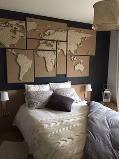 Diy ideas inspirations from hobby lobby pinterest wall world map string art polyptych gumiabroncs Images