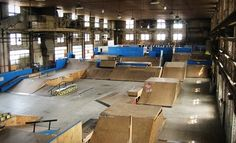 indoor park designed for all skill sets boasts half pipes, grind boxes & ramps for skateboarders & BMX riders alike Empty Pool, Ramp Design, Skateboard Deck Art, Cat Bath, Make Way, Bike Parking, Parking Design, Skate Park, Bmx