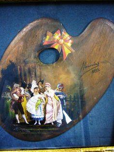 """Paleta de pintor en la que Luis Menéndez Pidal pintó magistralmente una escena de """"Bautizo"""".  Con firma y con marco.  HOM-TIENDA www.museodelabanico.com"""