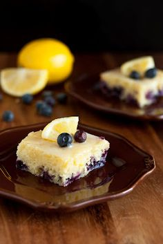 Blueberry Lemon Brownies with White Chocolate Glaze...