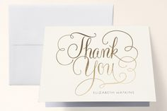 Flourished Foil-Pressed Bridal Shower Thank You Cards by Laura Bolter Design at minted.com