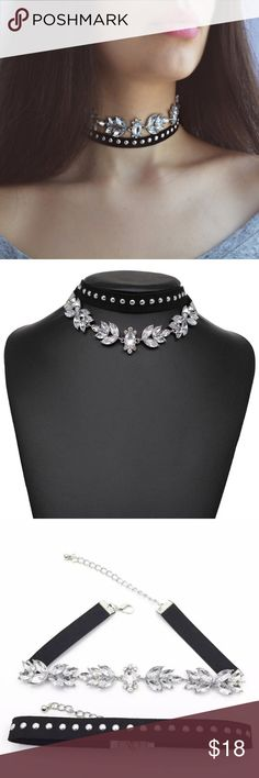 Trendy, classy, and yet sexy ! Fashion crystal  choker, black velvet.  You can get this choker for less in a bundle with other chokers! GET the BUNDLE for LESS! Look for it at my boutique! Jewelry Necklaces