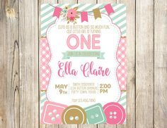 Cute as a Button Birthday Invitation by EmmyJosParties on Etsy
