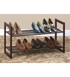 With this Two-Tier Shoe Rack you can easily store up to eight pairs of shoes by your front door or in your closet