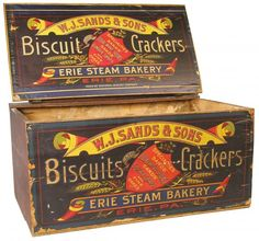 . Vintage Wood Crates, Wooden Crate Boxes, Old Crates, Vintage Tins, Wood Boxes, Advertising Signs, Vintage Advertisements, Vending Machines, Vintage Packaging