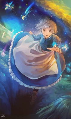 "Sophie from Miyazaki's ""Howl's Moving Castle"" - Artist unknown, sadly. Love this moment of Sophie, passing back and forth between old age, womanhood and girlhood, unaware of change. She is too busy thinking about how to save the day because her loved ones depend on her."