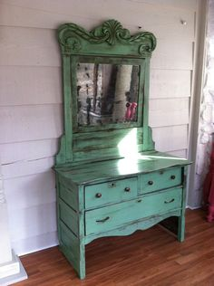 Antique Dresser from the 1800s painted green