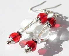 """Boucles d'oreilles argentées avec perles en verre rouges et transparentes : """"Les attrape-lumière"""" - Rouge"""