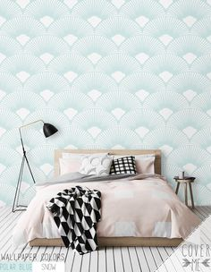 Scallop Geometric Pattern Wallpaper / Simple by CoverMEwallpapers Unique Wallpaper, Vinyl Wallpaper, Pattern Wallpaper, Bedroom Prints, Bedroom Art, Bedroom Linens, Master Bedroom, Bedding, 1970s Furniture