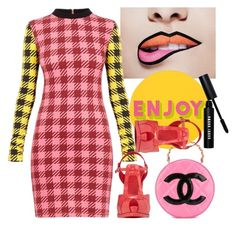 """""""Gingham Tartan Contrast Mini Dress"""" by thestyleartisan ❤ liked on Polyvore featuring Lisa Perry, Chanel, Fendi, Bobbi Brown Cosmetics and gingham"""