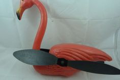 Vintage 1988 Union Products Blow Mold Pink Flamingo Wind Spinner Lawn Ornament