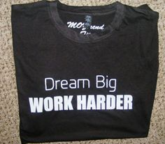 Dream Big. WORK HARDER. Weightlifting. Mens Shirt. Workout Clothing. Excercise Tank. fitness. Competing Shirt. Mens Gym Shirt. Sports.