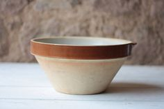 Gorgeous Medium Vintage French Tian Bowl, Cream Making Bowl, Antique Rustic Confit Bowl by FarmGateVintage on Etsy