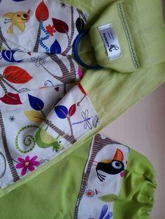 Verde pistacho (algodón + lino) y tela siesta animal con bolsita a juego
