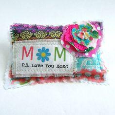 Mom Lavender Sachet, Mother's Day Love you Sachet. fabric scrap sachet, Little word Mom pillow, XOXO Mom sachet, fabric scrap flower #115