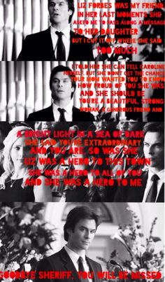 Damon Salvatore's speech to Sheriff Forbes  (Made by me)