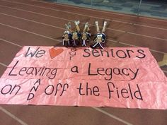 Senior night run through sign! I love the idea of having the senior cheerleaders sit like this for a cute pic also Football Banner, Football Spirit, Football Signs, Football Cheer, Football Stuff, Football Quotes, School Football, School Sports, Football Season