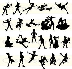 Silhouette Tinkerbell And Peter Pan Tattoo Flash