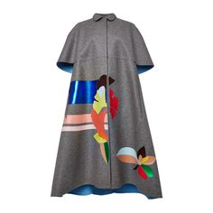 DELPOZO Double Faced Wool Cape (€2.765) ❤ liked on Polyvore featuring outerwear, coats, reversible cape, cape coat, woolen cape, wool capes and wool cape coats
