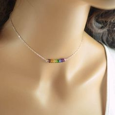Rainbow Choker Necklace Sterling Silver Chain Real by livjewellery