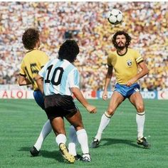 Brazil 3 Argentina 1 in 1982 in Barcelona. Falcao, Diego Maradona and Socrates in action in Round 2, Group 3 at the World Cup Finals.