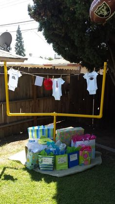 Football goalpost/clothes line for baby shower