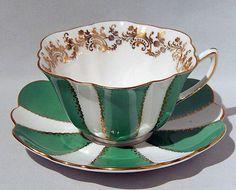 Vintage SHELLEY GREEN PANELS w/Gold Filigree CUP & SAUCER Rare STRATFORD Shape