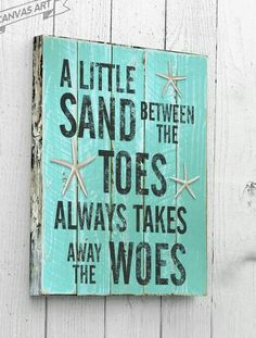 A Little Sand Between The Toes, Beach Decor, Canvas Art, Wall Art, Beach Signs… Beach Cottage Style, Coastal Cottage, Coastal Style, Coastal Decor, Coastal Farmhouse, Modern Coastal, Coastal Living, Coastal Furniture, Farmhouse Signs
