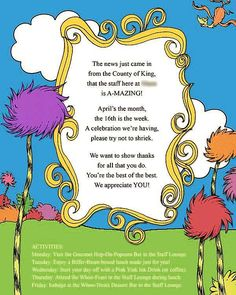 Take a look at collection video and picture of dr seuss baby shower invitations and get inspired Teacher Appreciation Luncheon, Volunteer Appreciation, Volunteer Gifts, Teacher Luncheon Ideas, Volunteer Ideas, Appreciation Cards, Teachers Week, Dr Seuss Baby Shower, School Teacher