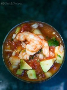 Mexican Shrimp Cocktail A classic shrimp cocktail with shrimp tomatoes hot sauce celery onion cucumber and avocados Great appetizer for entertaining and so easy On Mexican Shrimp Cocktail, Mexican Shrimp Recipes, Seafood Recipes, Cooking Recipes, Mexican Seafood, Cooking Raw Shrimp, How To Cook Shrimp, Great Appetizers, Appetizer Recipes