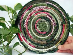 Large Round Coiled Fabric Trivet Mat Cottage by SquareCircleWorks