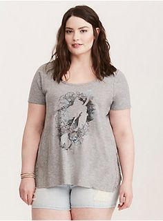 """This tee is heading for dry land with a heather grey knit. The coral and floral-detailed Ariel graphic has been embellished with airbrush-inspired shading. Crochet insets trim the swing sides for a boho touch. A keyhole back flashes a hint of skin.<div><br></div><div><b>Model is 5'10"""", size 1<br></b><div><ul><li style=""""list-style-position: inside !important; list-style-type: disc !important"""">Size 1 measures 28"""" from shoulder</li><li style=""""list-style-position: inside !important; ..."""