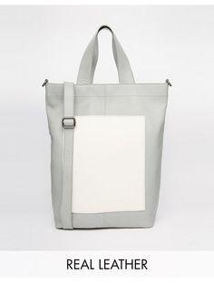 ASOS Leather Colour Block Handheld Bag - Grey