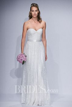 """DID by Watters - Spring 2014. Style 52134, """"Stevie"""" strapless lace A-line wedding dress with radially pleated bodice with a double-face satin ribbon at waist and a sweetheart neckline, Watters"""