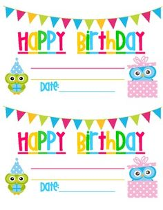 Owl Themed Birthday Certificates