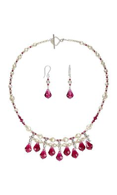Jewelry Design - Single-Strand Necklace and Earring Set with Swarovski® Crystals and Sterling Silver Spacer Bars - Fire Mountain Gems and Beads