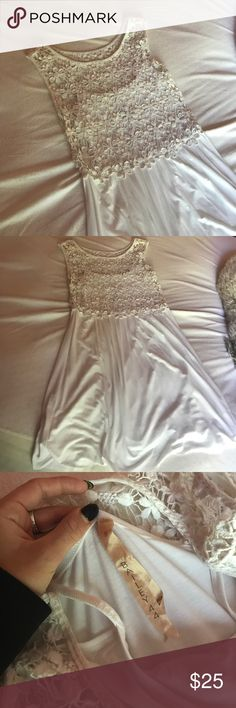 Anthropologie Bailey 44 White Crochet Top Dress Only worn once! Beautiful little white dress with flower crochet detail on top. Purchased at Anthro. Dress is perfect length for those 5'3 and under Anthropologie Dresses