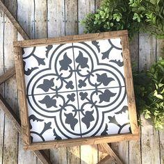 Cement Tile  Tile Wood Sign  Fixer Upper  Farmhouse Cement