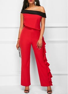 Red Off the shoulder Wide Leg Jumpsuit With Ruffle Side One leg