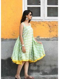 Shop Pastel Green Flared Ikat Dress by Threeness Long Gown Dress, Frock Dress, Cotton Frocks, Cotton Dresses, Casual Frocks, Casual Dresses, Frock Fashion, Fashion Dresses, Frock Models
