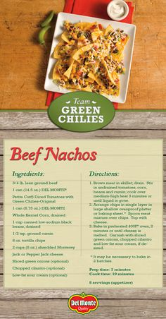 "Score a touchdown at your next party with our Beef Nachos from the Del Monte® kitchen. Three simple steps to enter: 1. Follow Del Monte® Brand on Pinterest 2. Create a Pinterest board named ""Del Monte® Southwestern Tomato Kick-Off"" and pin at least two (2) Del Monte® Tomato Recipes and at least two (2) of your favorite entertaining ideas. 3. Visit the official Sweepstakes website and register the link to your Pinterest board for a chance to win…"