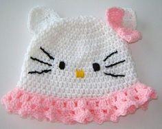 Hello Kitty crocheted baby hat