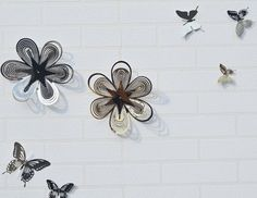 2 pieces stainless steel flower   wall decoration for Home Showcase 16051912