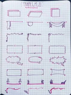 Planner doodles, boxes and frames for bullet journal decoration - Bullet Journal Notes, Bullet Journal Ideas Pages, Bullet Journal Inspiration, Pretty Notes, Sketch Notes, School Notes, Note Taking, Crafts, Drawings