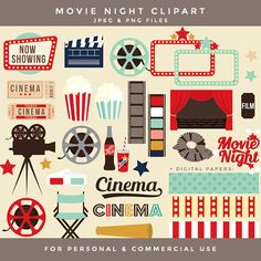 Movie night clipart - movie clip art cinema retro clipart vintage theatre theater popcorn cinema film reel digital papers frames film TV by WinchesterLambourne on Etsy https://www.etsy.com/uk/listing/246234775/movie-night-clipart-movie-clip-art