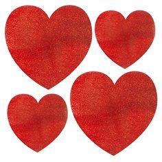 Decora con un poco de destello este San Valentín - troquelados con purpurina, de www.fiestafacil.com, $2.80 el paquete de 10 / Decorate with a bit of sparkle this Valentine's Day! Glitter heart cutouts, from www.fiestafacil.com