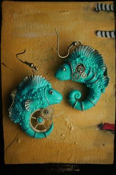 Polymer clay earrings, steampunk fish,  from a Russian site, not sure but I think this is the artist's name: Свежие штуки, на разнообразные темы