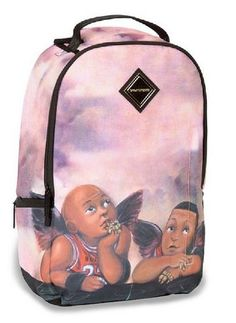 Sprayground Baby J Backpack - $91.95 & FREE Shipping   Sprayground Baby J Backpack at AltSkate.co.uk 360 cloud print with an angelic baby Michael Jordan and Scottie Pippen design Velour Sunglass Compartment, Hidden Large Back Compartment, Hidden Stash Pocket Custom Reinforced SBS Zippers, Emblems and Adjustable Shoulder Straps  http://topstreetwearclothingbrands.com/campaign/sprayground-backpacks-urban-streetwear/  #sprayground #backpacks #urbanfashion #mensurbanfashion